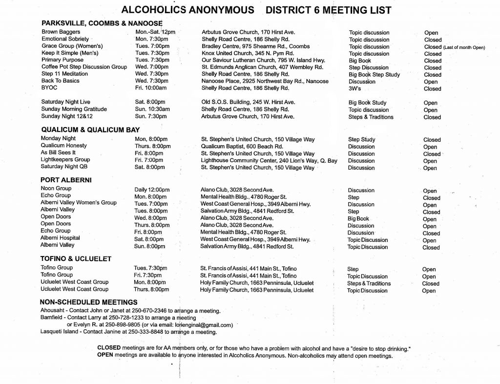 Parksville Area Meeting Schedule Oct 2017